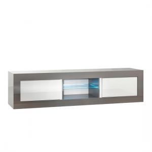 Celtic TV Stand Large In Grey And White Gloss With LED Lighting