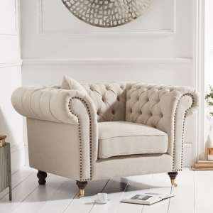 Camari Chesterfield Linen Armchair In Beige