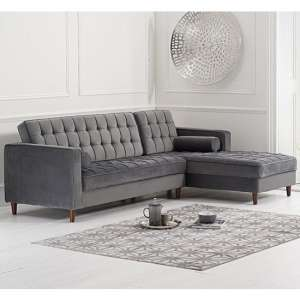 Centaurus Velvet Right Facing Chaise Sofa Bed In Grey