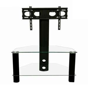 Century Glass TV Stand In Black With Bracket