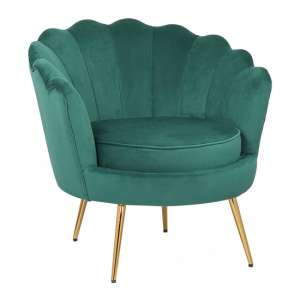 Cesar Velvet Armchair In Green With Gold Steel Legs