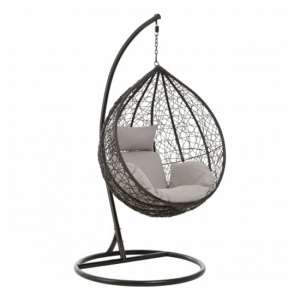 Cetoa Wooden Hanging Chair With Metal Frame In Black