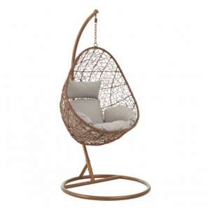 Cetoa Wooden Hanging Chair With Metal Frame In Brown