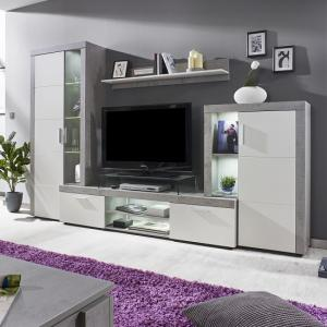 Cetrix Living Room Set In Cement Grey And White Fronts With LED