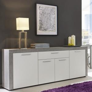 Cetrix Sideboard In Cement Grey And White Fronts With 4 Doors