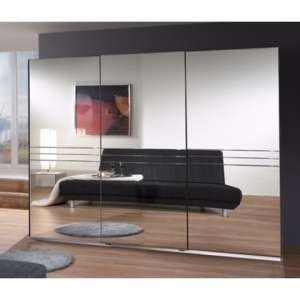 Cetus Sliding Door Wide Wardrobe In Anthracite With 3 Mirrors