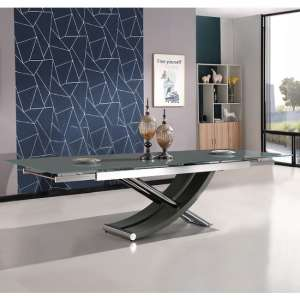 Chanelle Glass Extendable Dining Table In Grey With Chrome Legs