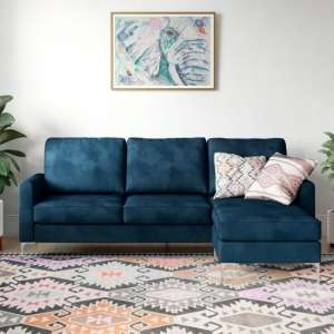 Chapman Velvet Corner Sofa In Blue with Chrome Legs