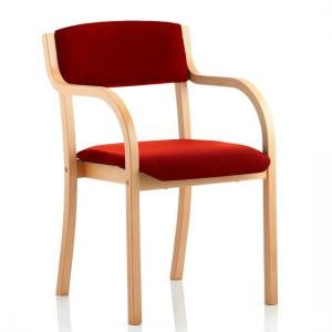 Charles Office Chair In Cherry And Wooden Frame With Arms