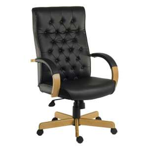 Charlton Executive Office Chair In Black Faux Leather