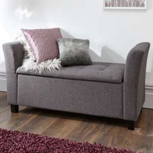 Charter Fabric Ottoman Seat In Charcoal Grey With Wooden Feet
