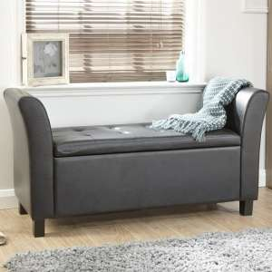 Charter Ottoman Seat In Black Faux Leather With Wooden Feet