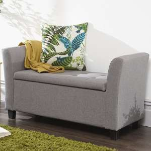 Charter Modern Fabric Ottoman Seat In Grey With Wooden Feet