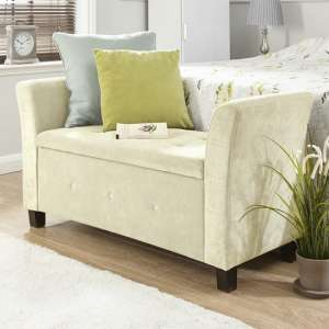 Charter Modern Fabric Ottoman Seat In Natural With Diamante