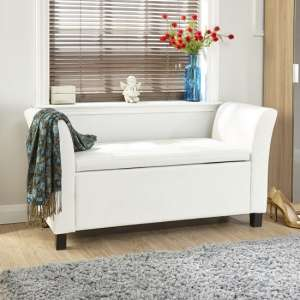 Charter Ottoman Seat In White Faux Leather With Wooden Feet