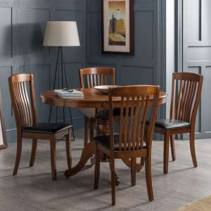 Chaumont Extending Dining Table In Mahogany With Four Chairs