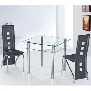Como Glass Dining Table With 2 Siena Dining Chairs