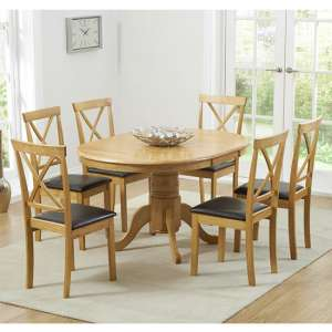 Chertan Extending Oak And Cream Dining Table With 6 Chairs