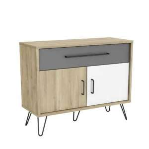 Chervil Compact Sideboard In Kronberg Oak And Pearl White