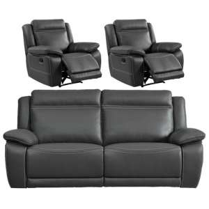 Cheshire 3 Seater Sofa And 2 Armchairs Suite In Dark Grey