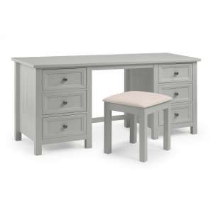 Cheshire Dressing Table And Stool In Dove Grey Lacquer