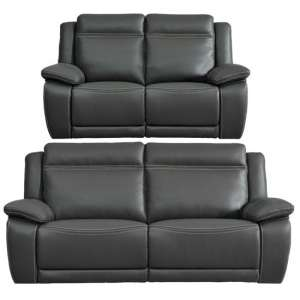 Cheshire Leather 3 And 2 Seater Sofa Suite In Dark Grey