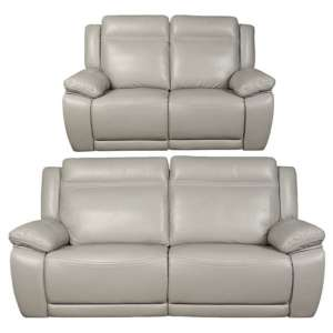 Cheshire Leather 3 And 2 Seater Sofa Suite In Light Grey
