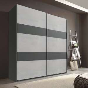 Chess Sliding Door Wide Wardrobe In Light Grey And Graphite