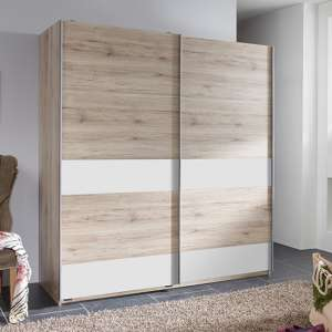 Chess Sliding Door Wide Wooden Wardrobe In San Remo Oak Effect