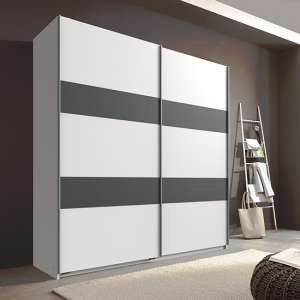 Chess Sliding Door Wide Wardrobe In White And Graphite