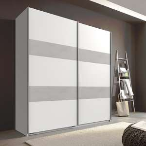 Chess Sliding Door Wide Wardrobe In White And Light Grey
