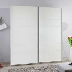 Chess Sliding Door Wide Wooden Wardrobe In White