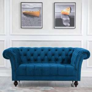 Chester Fabric 2 Seater Sofa In Midnight Blue