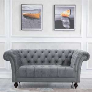 Chester Fabric 2 Seater Sofa In Midnight Grey