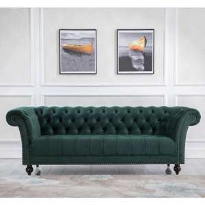 Chester Fabric 3 Seater Sofa In Midnight Green Velvet