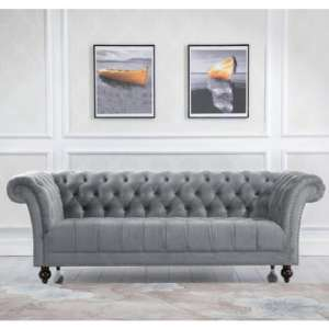 Chester Fabric 3 Seater Sofa In Midnight Grey