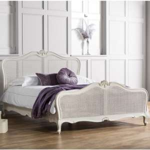 Chic Mahogany Wooden Super King Size Bed In Vanilla White