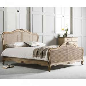 Chic Mahogany Wooden Super King Size Bed In Weathered