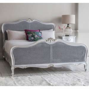Chic Wooden King Size Bed In Silver