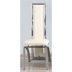 Chicago Dining Chair In Cream With Padded Seat and Chrome Legs