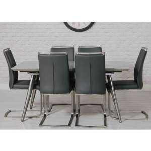 Chicago Marble Effect Dining Set With 6 Grey Franklin Chairs