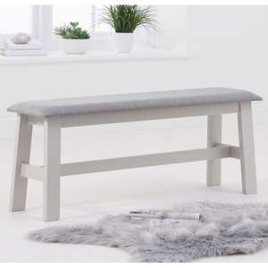 Chichester Grey Large Dining Bench With Grey Fabric Seat