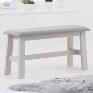 Chichester Grey Small Dining Bench With Grey Fabric Seat