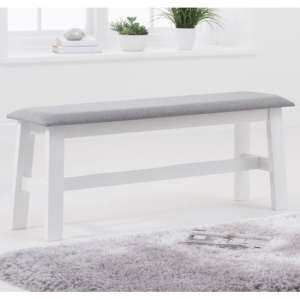 Chichester White Large Dining Bench With Grey Fabric Seat