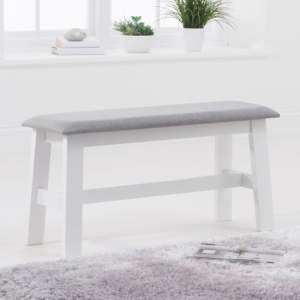 Chichester White Small Dining Bench With Grey Fabric Seat