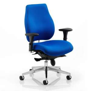 Chiro Plus Ergo Fabric Office Chair In Blue With Arms