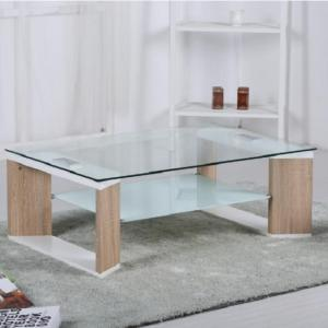 Chloe Glass Coffee Table With Natural And White High Gloss Frame