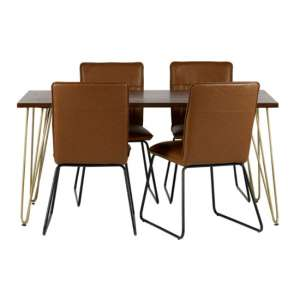Chort Dining Table In Dark Walnut With 4 Brown Catila Chairs