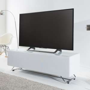 Claude Glass TV Stand In White High Gloss With Steel Frame