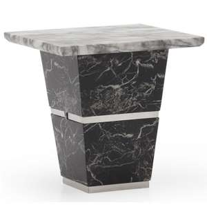 Chrysla Marble Lamp Table In White And Black